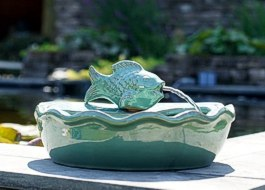 Keramikbrunnen Fischspeier