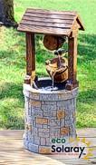 Solarbrunnen Holz Steinnachbildung